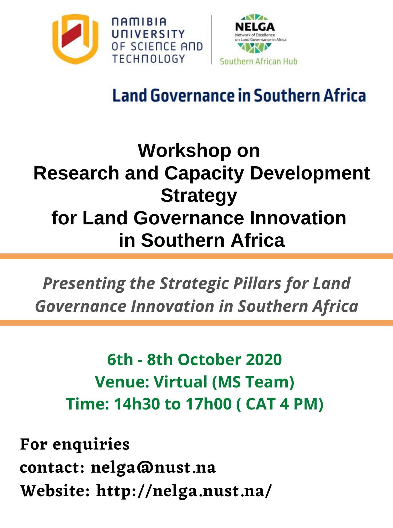 NELGA Southern Africa Hub to hold Research and Capacity Development Workshop on Land Governance Innovation in Southern Africa